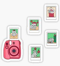 Christmas Polaroid Cat Stickers Sticker