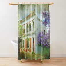 Old House with Wisteria Shower Curtain