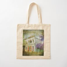Old House with Wisteria Cotton Tote Bag