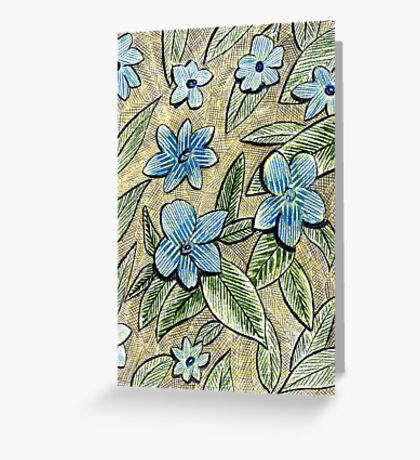 77 - CROSS-HATCHING AND PLANTS - DAVE EDWARDS - COLOURED PENCILS - 1998 Greeting Card