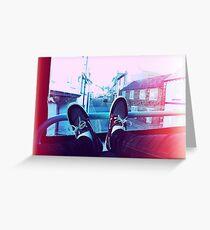 My feet on a bus Greeting Card