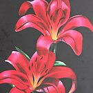Red Lilies by Laura Dhir