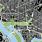 Map of Washington, DC by Kathleen  Cole