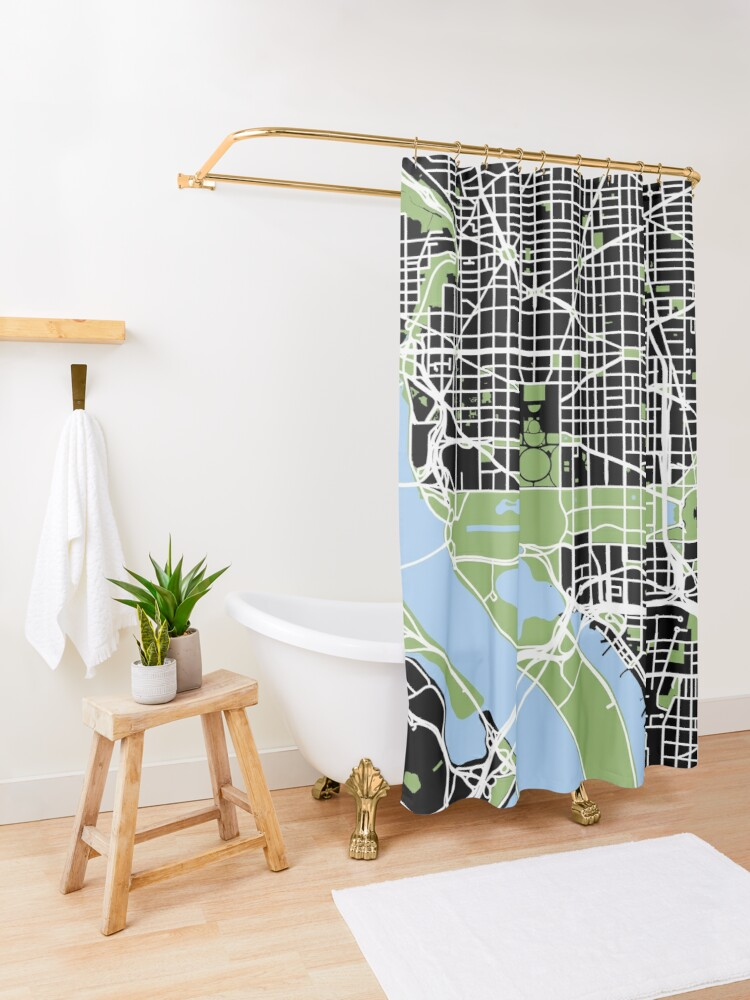 Alternate view of Map of Washington, DC Shower Curtain