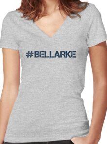 #BELLARKE (Navy Text) Women's Fitted V-Neck T-Shirt