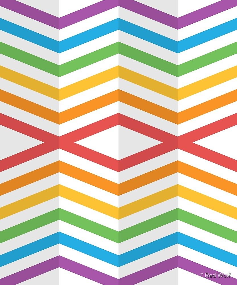 Geometric Pattern: Chevron Cascade: Rainbow Light by * Red Wolf