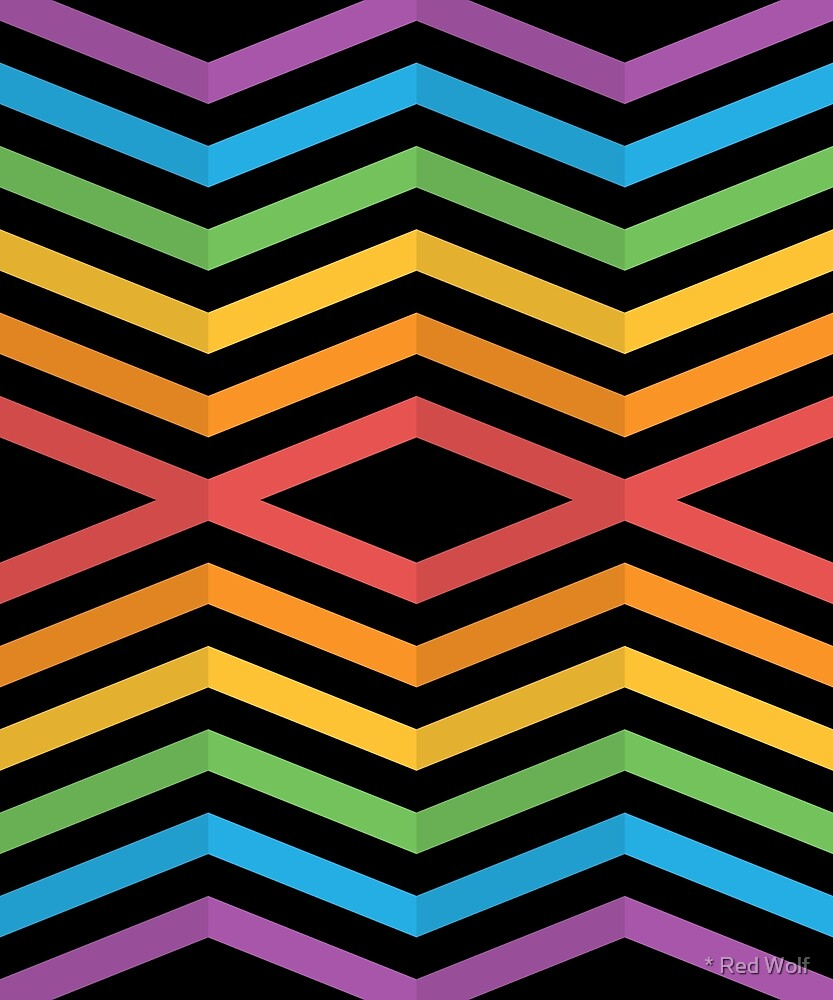 Geometric Pattern: Chevron Cascade: Rainbow Dark by * Red Wolf