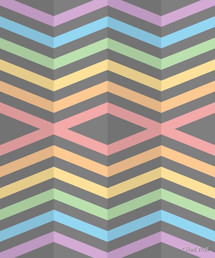 Geometric Pattern: Chevron Cascade: Rainbow Dark Pastel by * Red Wolf