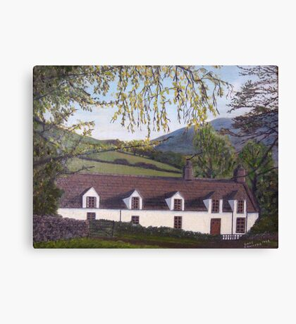 028 - WELSH COTTAGE - DAVE EDWARDS - OIL - c.1980 Canvas Print