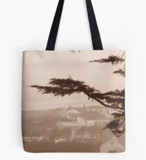 Romantic windswept tree overlooks the bluff, in B/W. Tote Bag