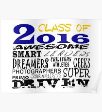 Class of 2016 Traits - Blue/Gold Poster