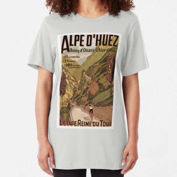 Vintage French Swiss Alps sport bicycle poster Slim Fit T-Shirt