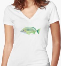 Blue Striped Grunt Fish Fitted V-Neck T-Shirt