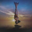 Fantasy Mermaid Floating at Sunset by jadybates