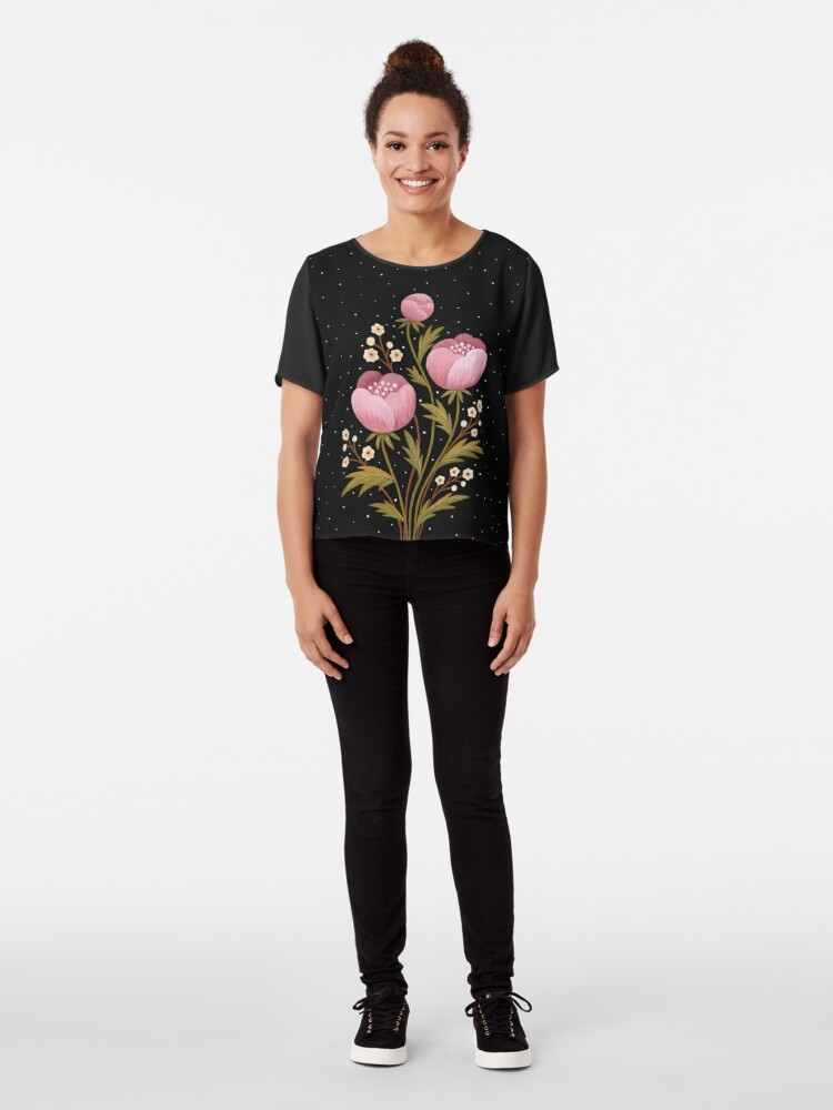 Alternate view of Blooms in the dark Chiffon Top