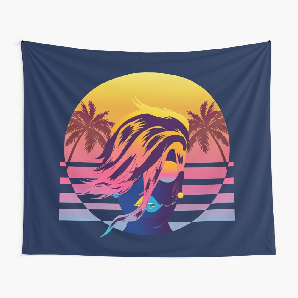 Synthwave Sunset Mane and Sunglasses Wall Tapestry