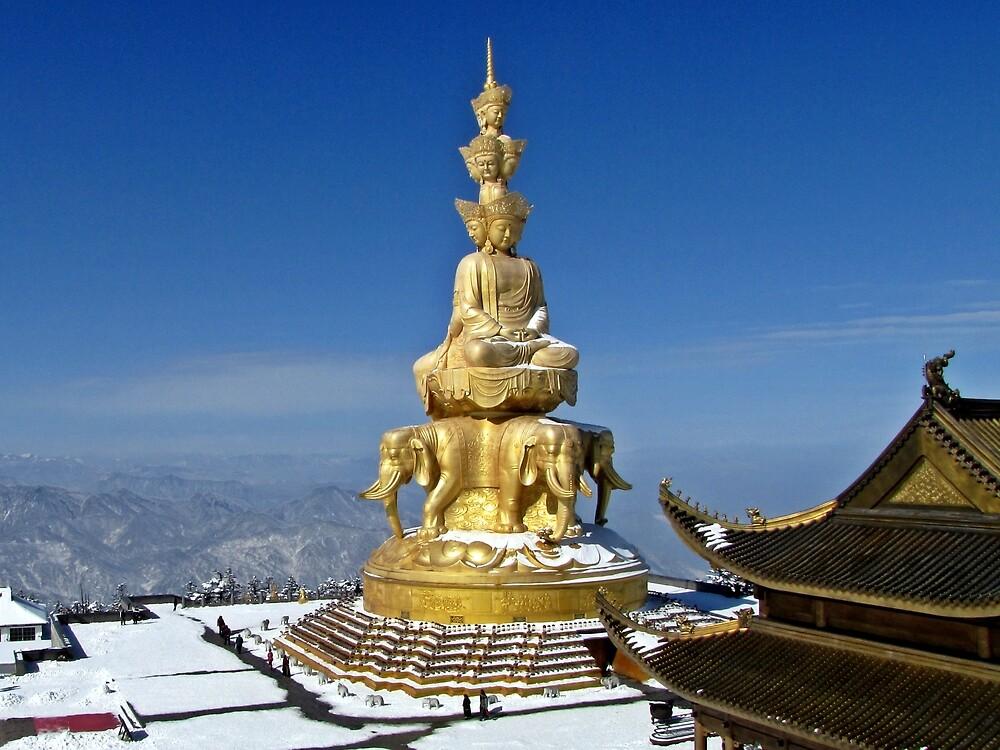 Temple and Buddha Statue, Emei Shan, Sichuan, China by DaveLambert