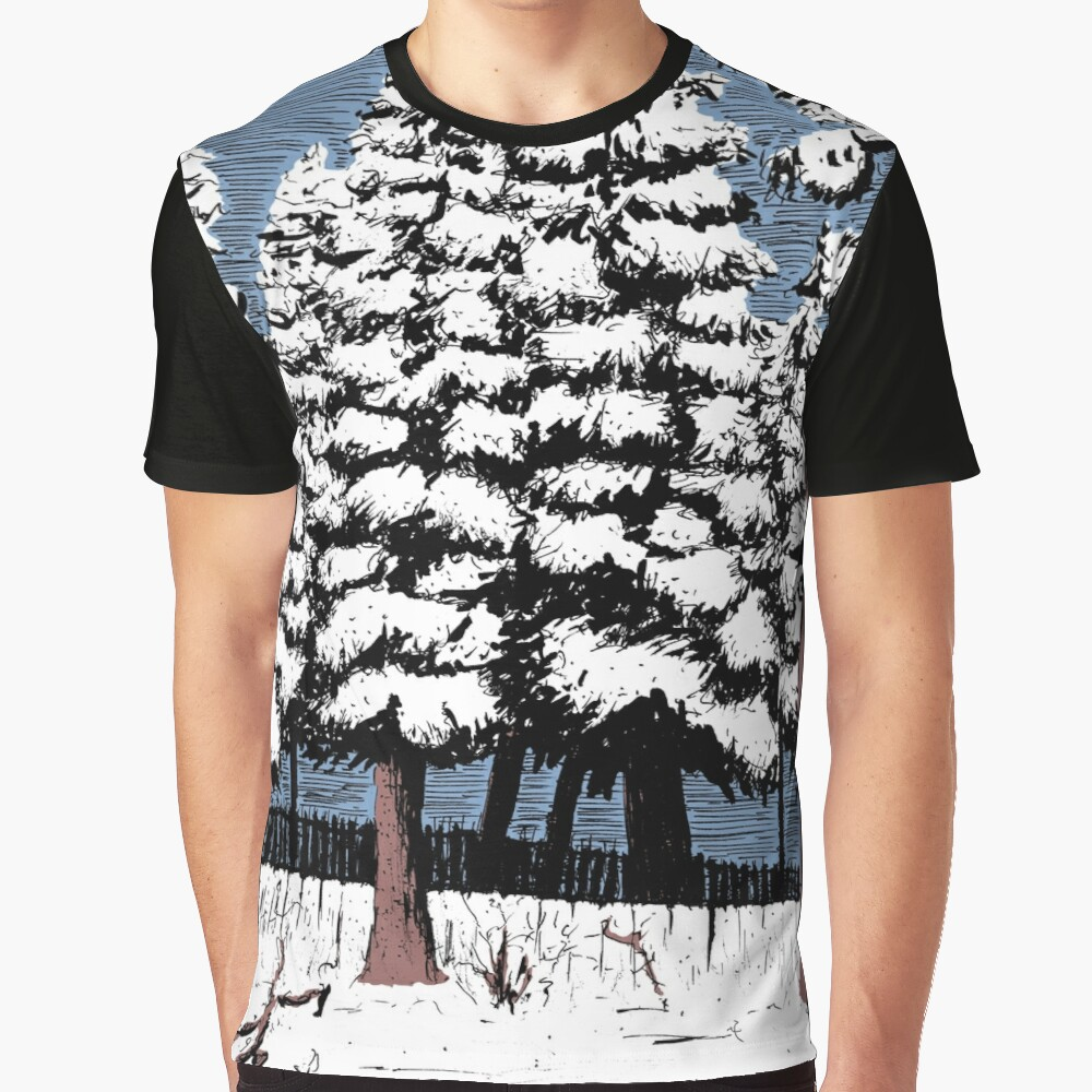 Backyard Snowfall Graphic T-Shirt