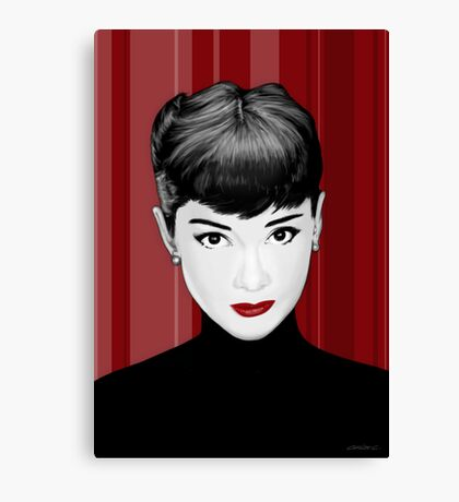 Audrey Hepburn on red background Canvas Print