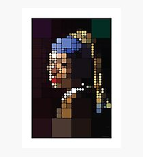 Girl with a Pearl Earring Pixelated Photographic Print