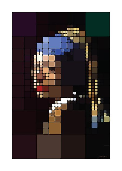 Girl with a Pearl Earring Pixelated by Charlize Cape