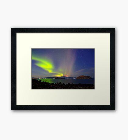 Volcano eruption Eyjafjallajokull and the northern lights Framed Print