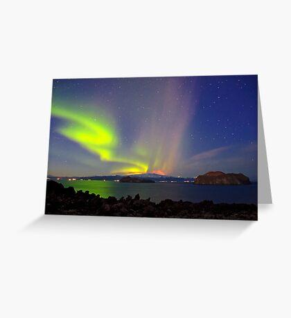 Volcano eruption Eyjafjallajokull and the northern lights Greeting Card