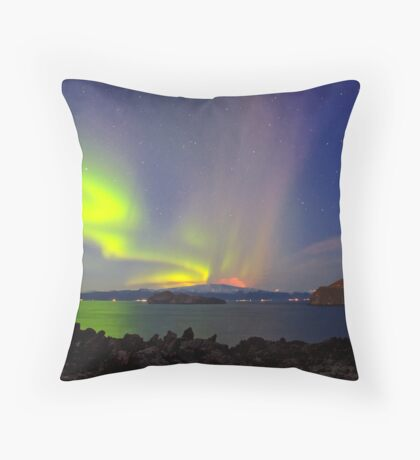 Volcano eruption Eyjafjallajokull and the northern lights Throw Pillow