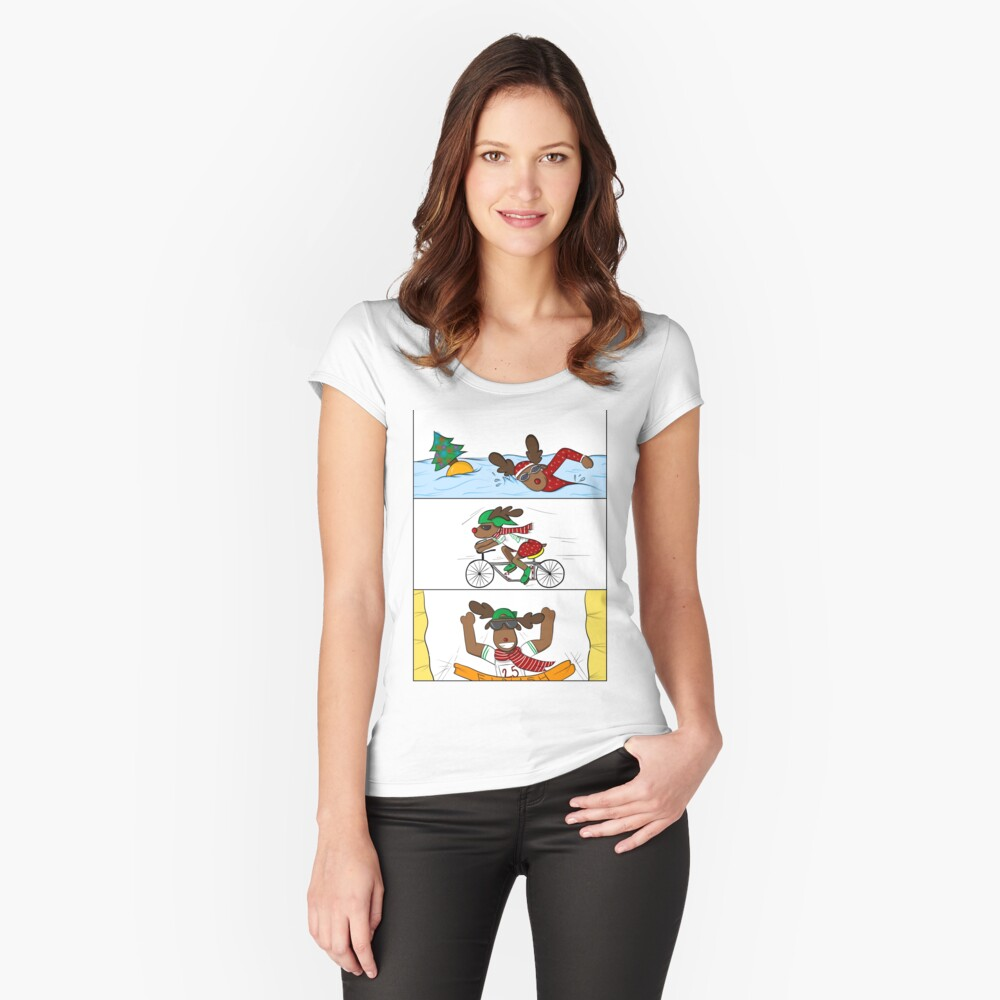 Christmathlon! Tailliertes Rundhals-Shirt