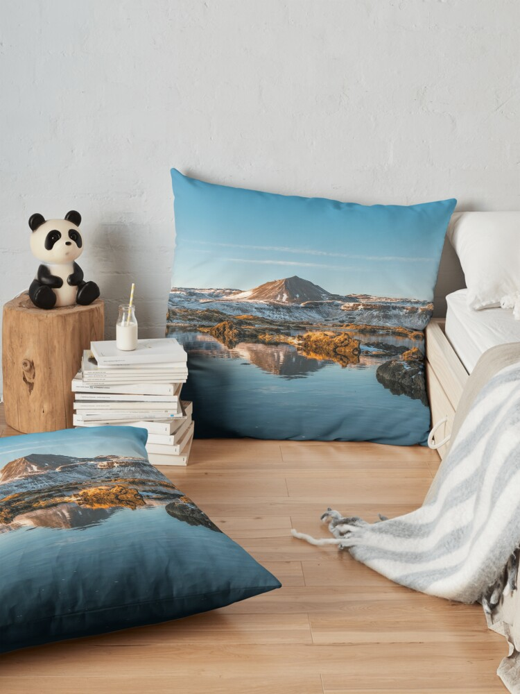 Alternate view of Winter landscape in Iceland II Floor Pillow