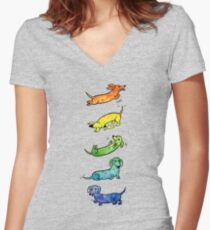Watercolor Dachshunds Women's Fitted V-Neck T-Shirt