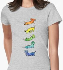 Watercolor Dachshunds Women's Fitted T-Shirt