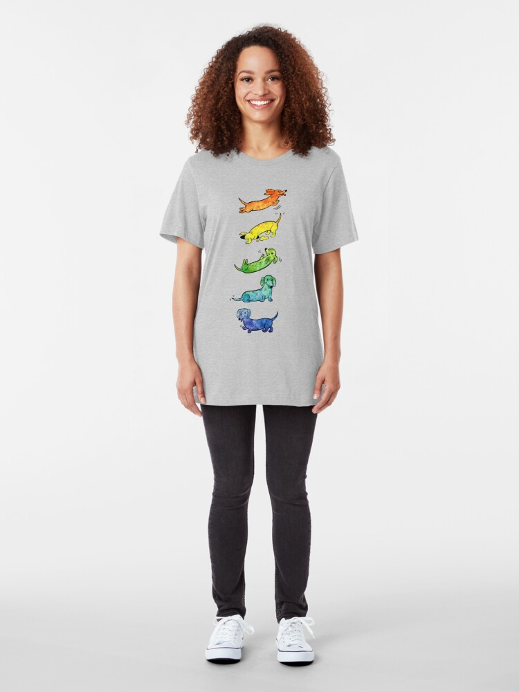 Alternate view of Watercolor Dachshunds Slim Fit T-Shirt
