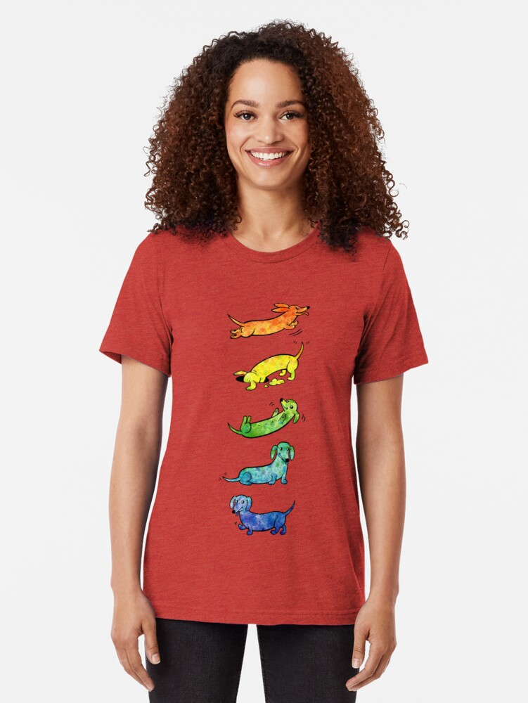 Alternate view of Watercolor Dachshunds Tri-blend T-Shirt
