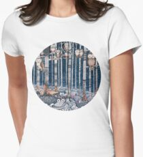 Owl Forest Womens Fitted T-Shirt