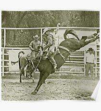Cowboy Rides a High Kicking Bronco Poster