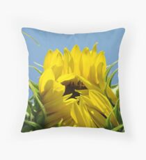 Floral art Sunflower Blue Sky Baslee Troutman Throw Pillow