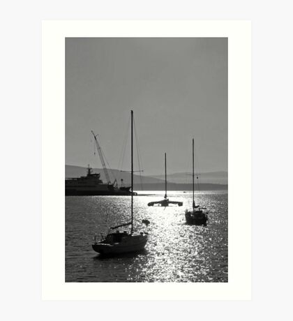 sailboat silhouettes in the sunline Art Print
