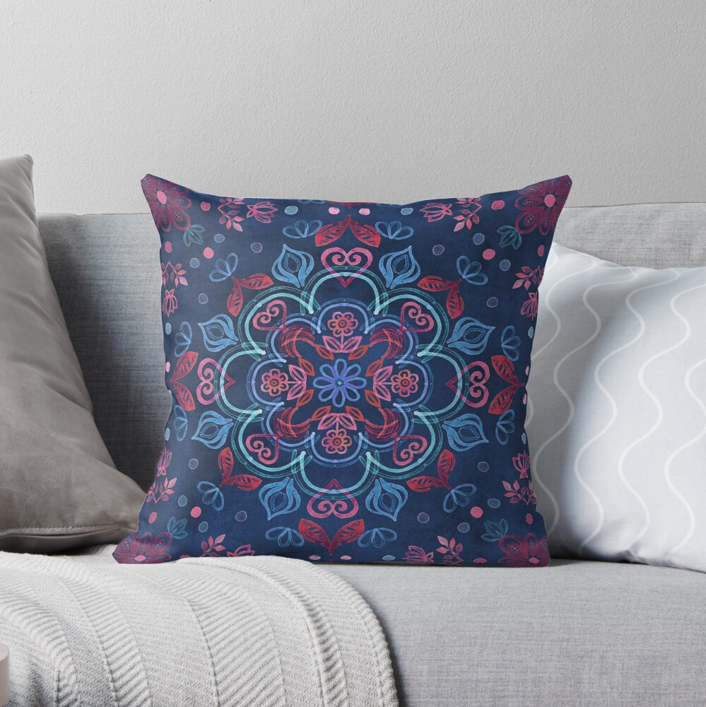 Cherry Red & Navy Blue Watercolor Floral Pattern Throw Pillow