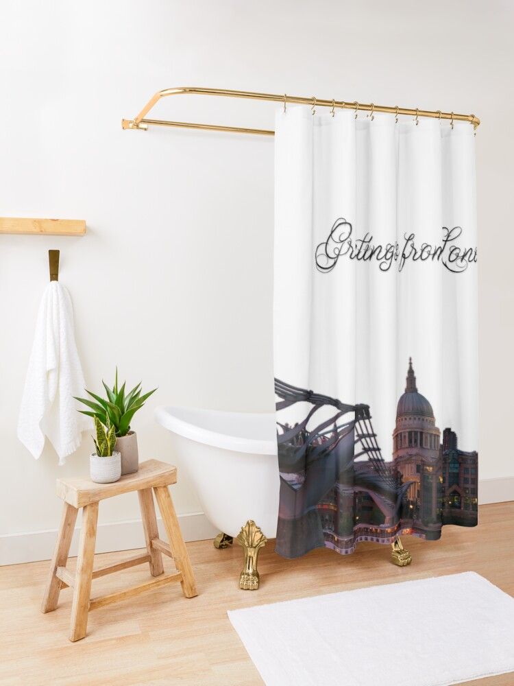Alternate view of Greetings from London Shower Curtain