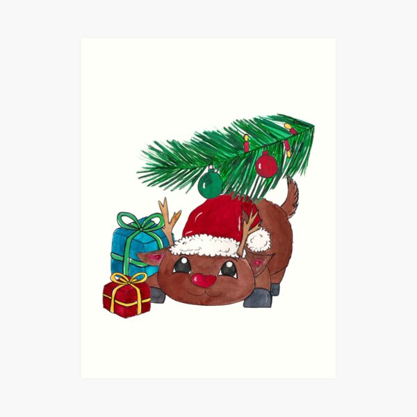 Reindeer with fir branch and presents. Merry Christmas! Art Print