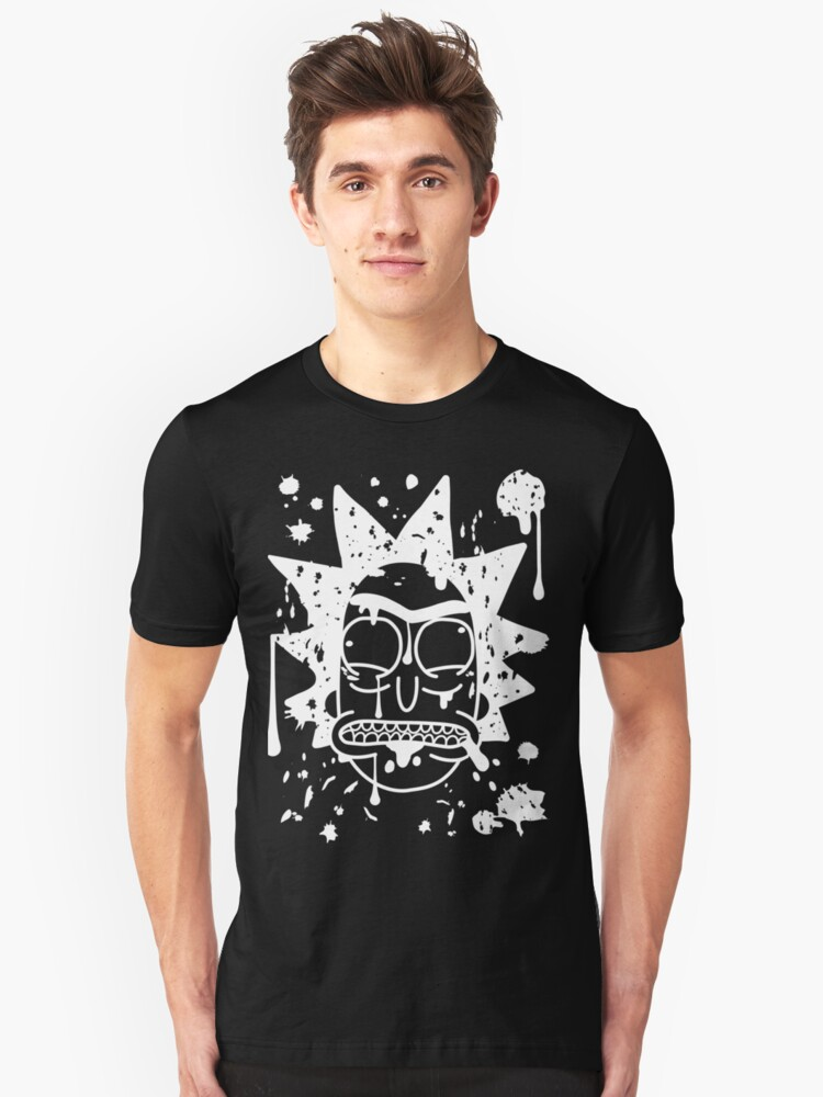 Alternate view of Dripping spit Rick Sanchez White Slim Fit T-Shirt