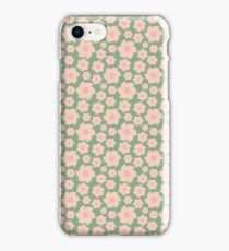 Vintage green pink retro girly pattern iPhone Case/Skin