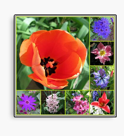 Tulips and Hyacinths Collage Leinwanddruck