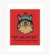 Oxford Comma Llama black text spit Art Print