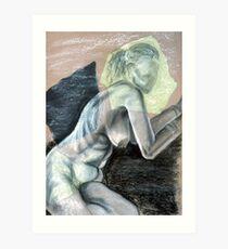 Woman Leaning - chalk drawing Art Print