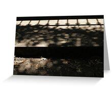 Fence shadows, detritus at Abbotsford Convent Greeting Card