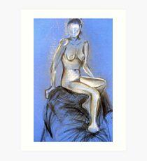 Lady on Blue - chalk & charcoal sketch Art Print