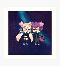 Cute Gacha Girl and Boy with Fox Tail Art Print
