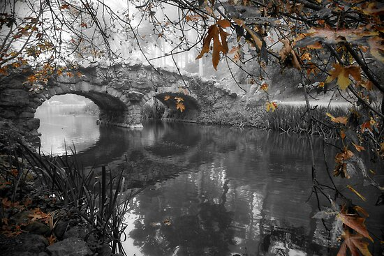 Stow Lake Bridge in Fall by Richard Mason